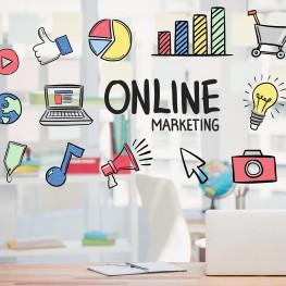 digital composite of marketing graphics with office background Negocios fotografía designed by Creativeart - Freepik.com